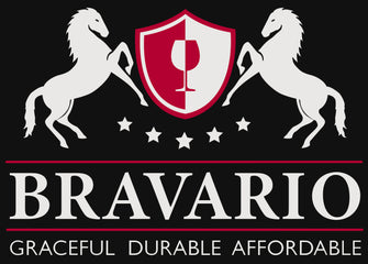 Bravario wine glasses logo