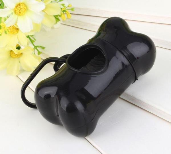 Bone Shaped Pet Waste Bag Holder - Plastic Dog Poo Bag Dispenser (Black)