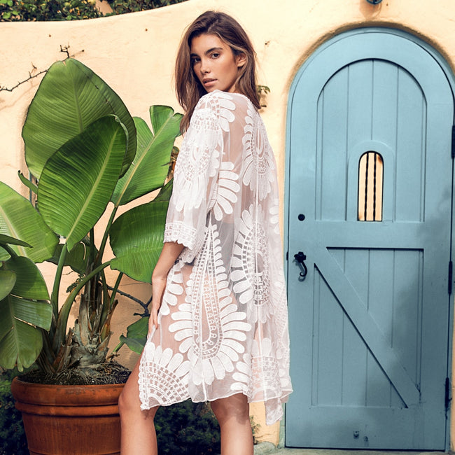 White Embroidery Lace Cover Up - Bealady