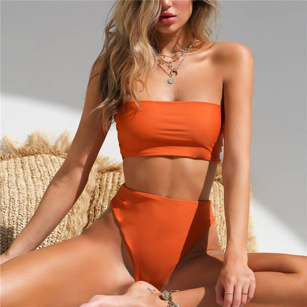 Sporty Striped Strapless Bikini - Bealady