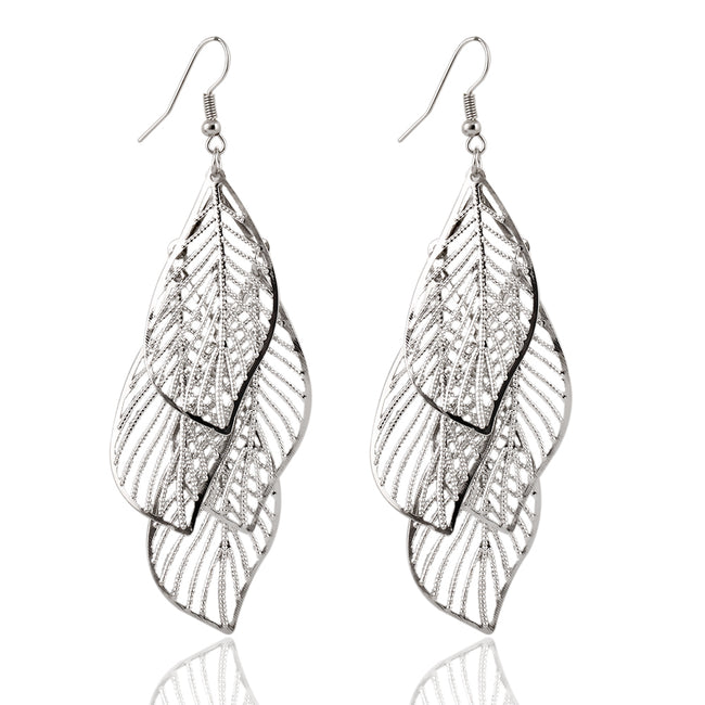 Hollow Leaf Drop Earrings - Bealady