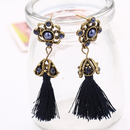 Crystal Flower Tassel Drop Earrings - Bealady