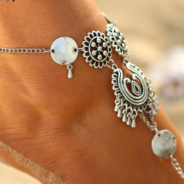 Vintage Antique Retro Coin Anklet - Bealady