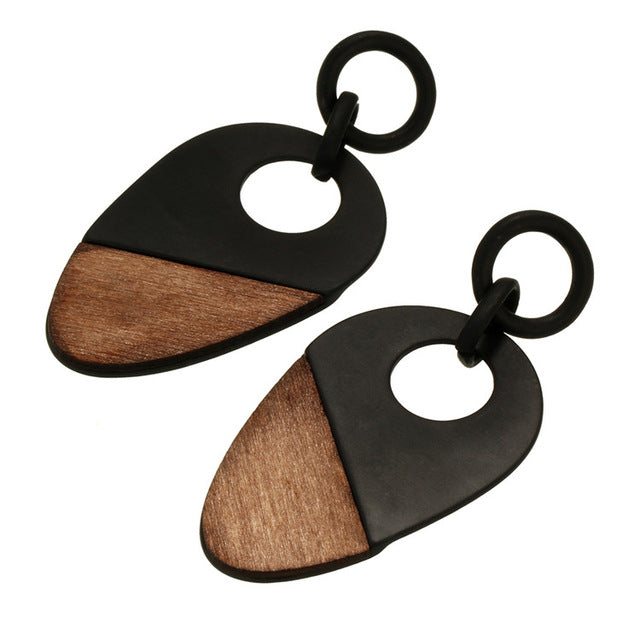 Geometry Wood Earrings - Bealady
