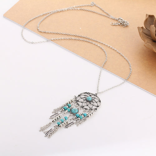 Dream Catcher Stone Tassel Necklace - Bealady