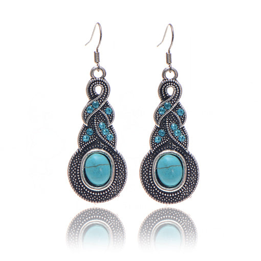 Boho Cross Blue Stone Drop Earrings - Bealady