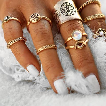 Vintage Silver Moon & Sun Knuckle Rings Set