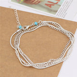 Multilayer Silver Anklet - Bealady