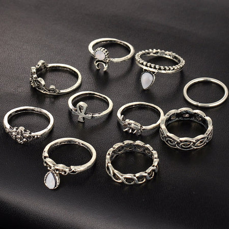 Boho Ancient Silver Oval Bangles