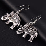 Carved Elephant Drop Earrings - Bealady