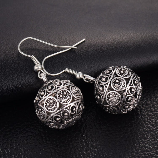 Bohemia Long Pendant Ball Drop Earrings - Bealady