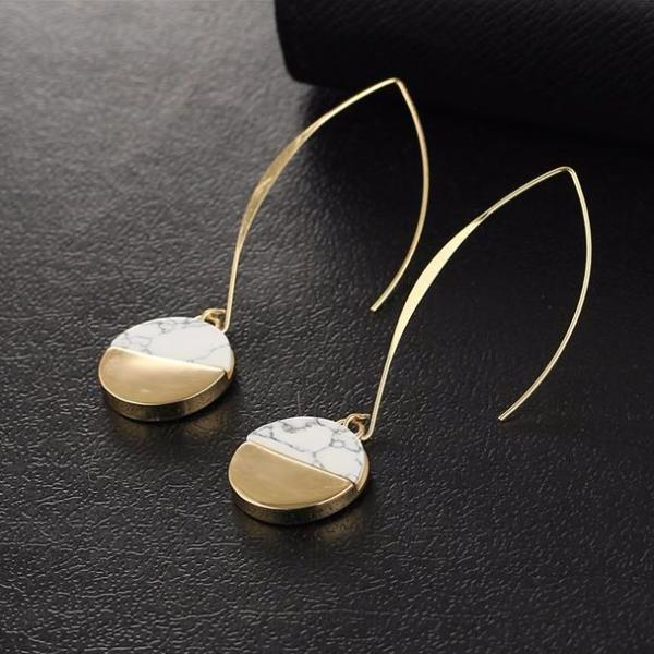 White Stone  Long Pendant Dangle Earrings - Bealady