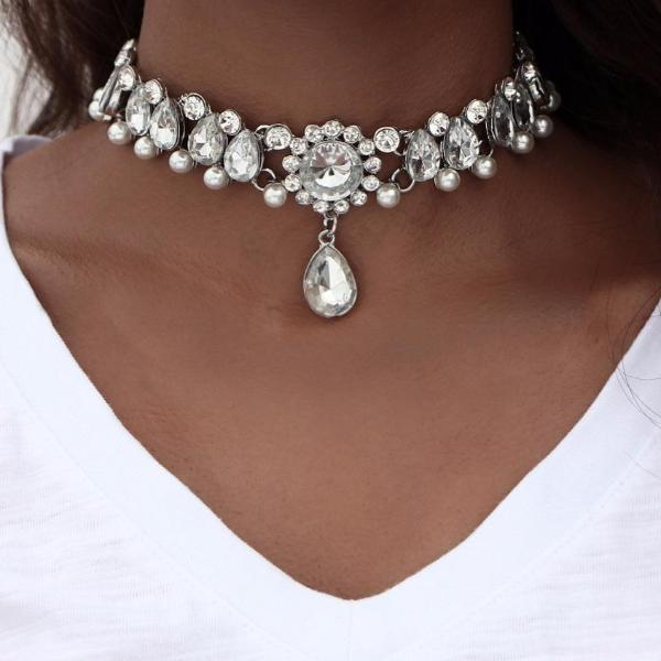 Boho Crystal Water Drop Collar Choker Necklace - Bealady