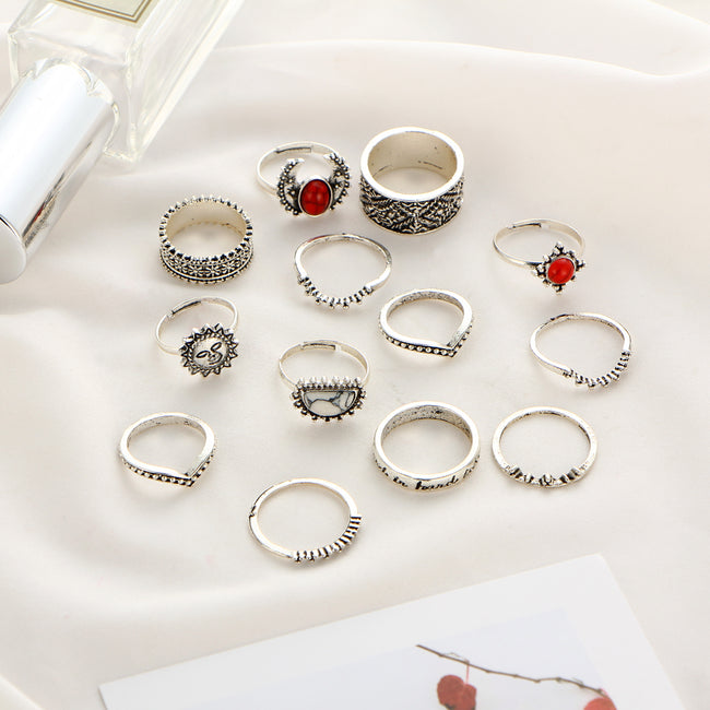 Vintage Silver Moon & Sun Knuckle Rings Set - Bealady