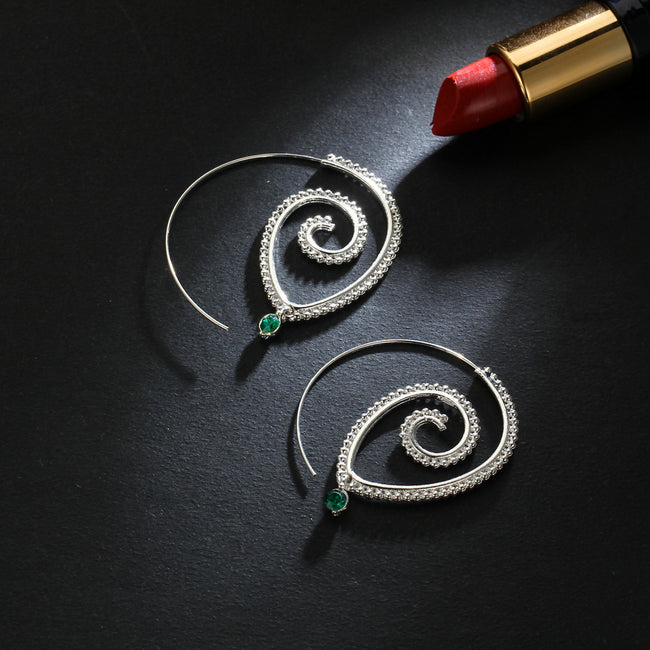 Crystal Swirl Earrings - Bealady