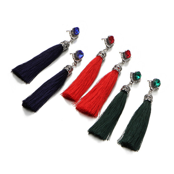 Boho Crystal Long Tassel Drop Earrings - Bealady