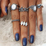 Vintage Natural Opal Stone Knuckle Ring Set - Bealady