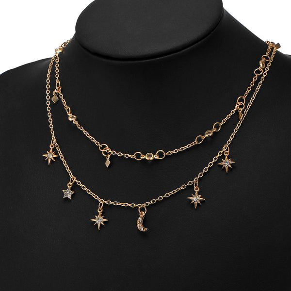 Star Moon Multilayer Pendant Necklace - Bealady