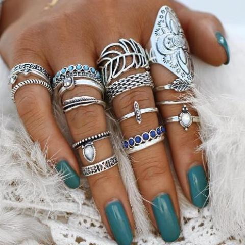 Boho Vintage Flower Leaf Knuckle Ring Set - Bealady