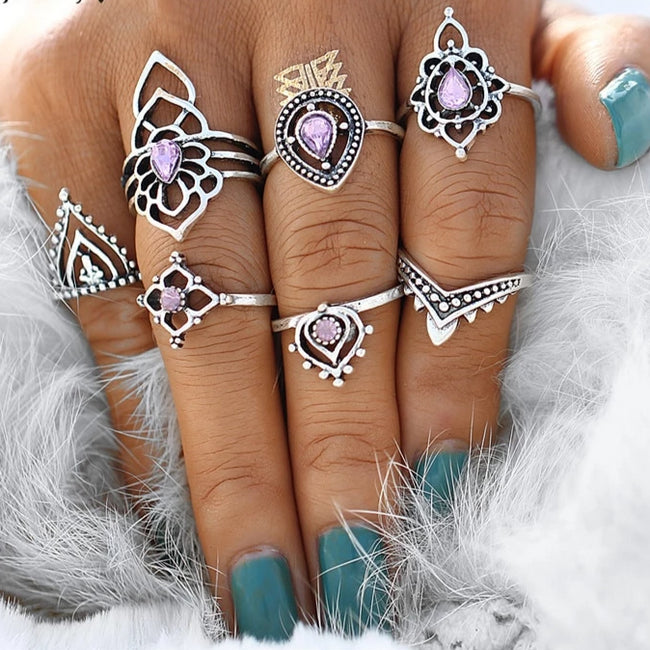 Boho Tibetan Flower Ring Sets - Bealady