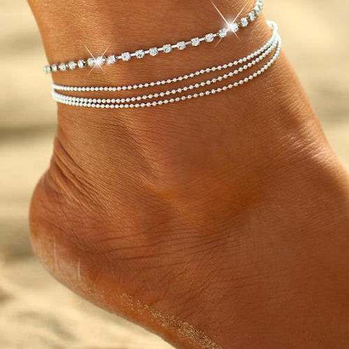 Multilayer Sexy Crystal Anklet - Bealady