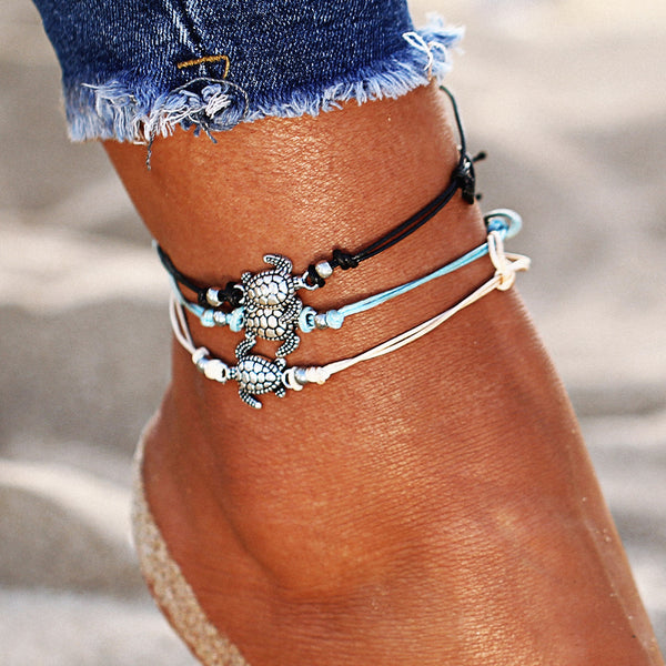 Bohemian Retro Turtle Rope Anklet - Bealady