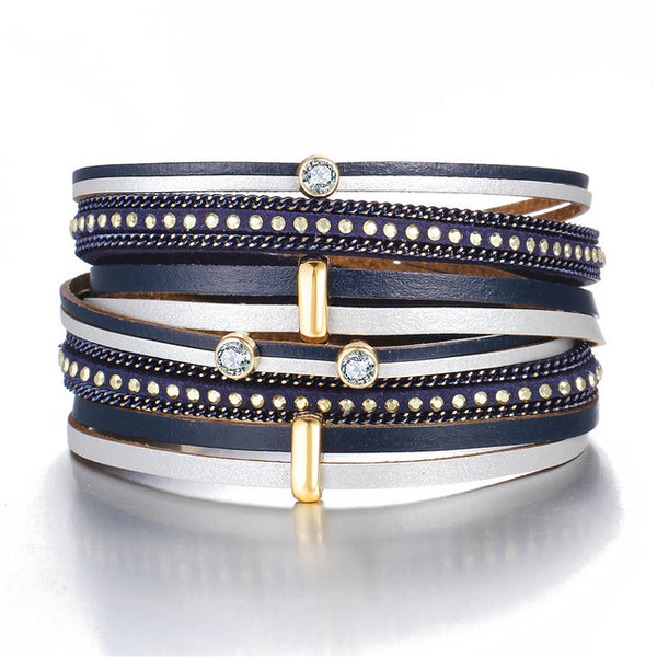 Crystal Beads Multiple Layers Leather Bracelet - Bealady