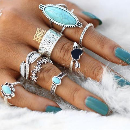 Bohemian Antique Silver Knuckle Ring Set