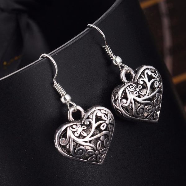 Hollow Heart Drop Earrings - Bealady