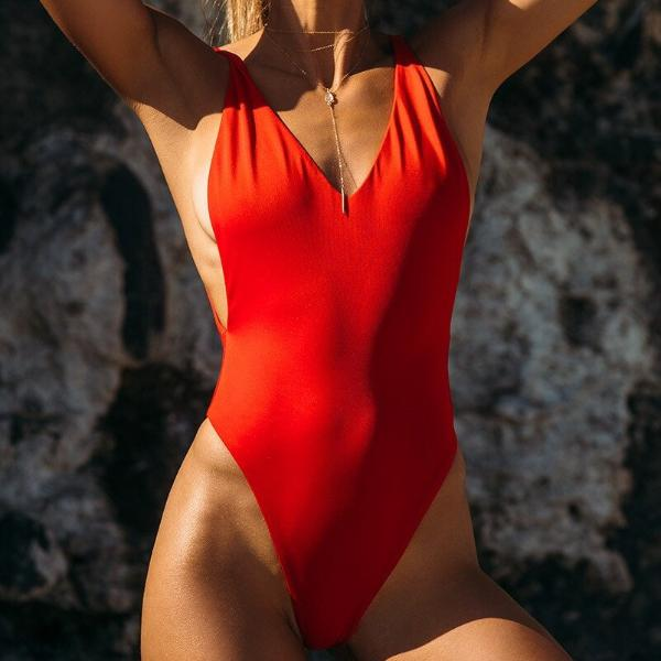 Edgeless Deep V One Piece - Bealady