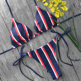 Blue Striped Bikini - Bealady