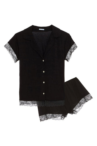 Eberjey - Malou Short PJ Set with Lace - Black