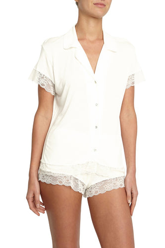 Eberjey - Malou Short PJ Set with Lace - Ivory