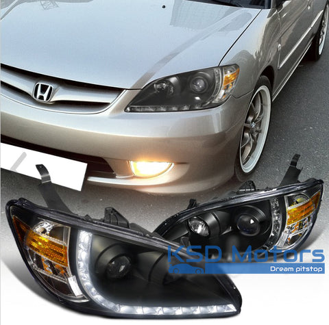 Civic 03-06 Headlight LED DRL Black