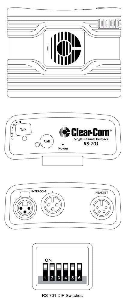 Clear-Com RS701 Wired Beltpack Single Channel