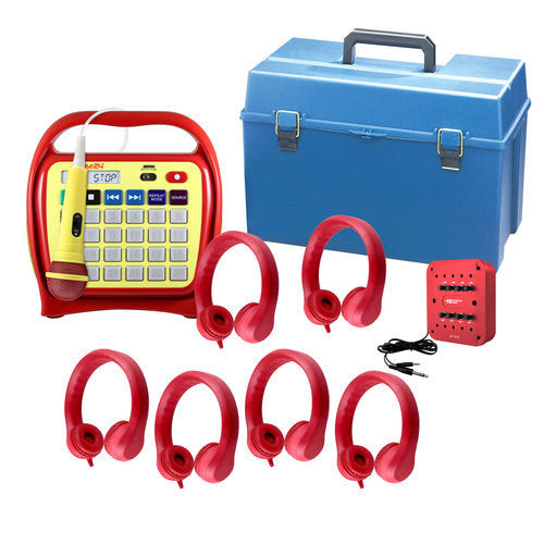 Hamilton Buhl LCJKR4 Juke24 Flex (Red) - Six Station Listening Center with Indestructible Foam Flex-Phones Headphones