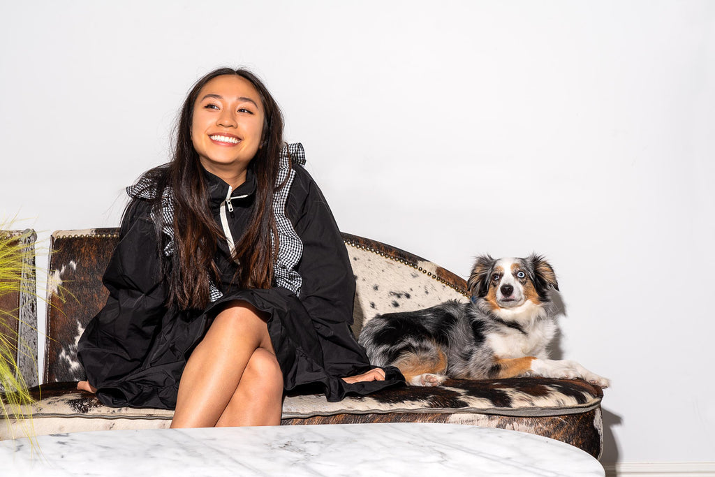Fashion Designer Sandy Liang and her dog, Timtam
