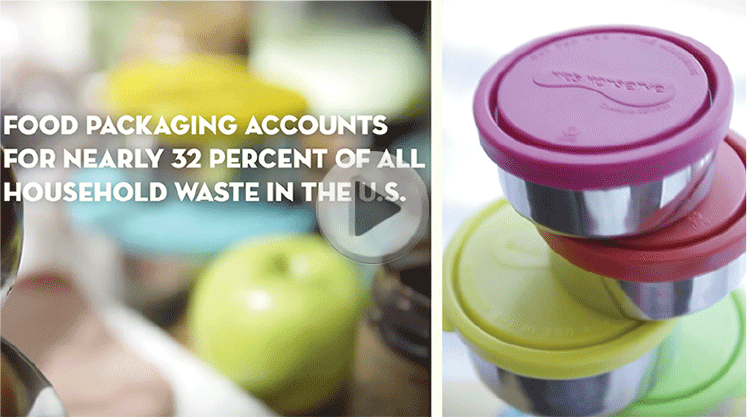 Screenshot of Video detailing food waste statistics; stacked u-konserve food containers