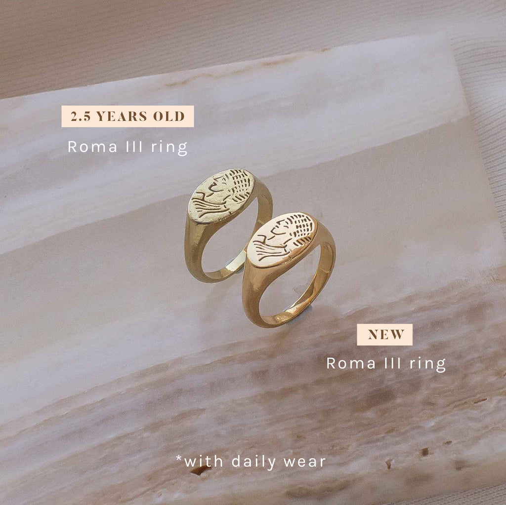 Roma ring gold filled new vs 2 years old