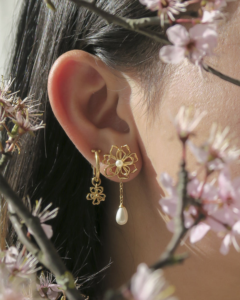 Aerith Flower Hoops - S-kin Studio Jewelry | Minimal Jewellery That Lasts.