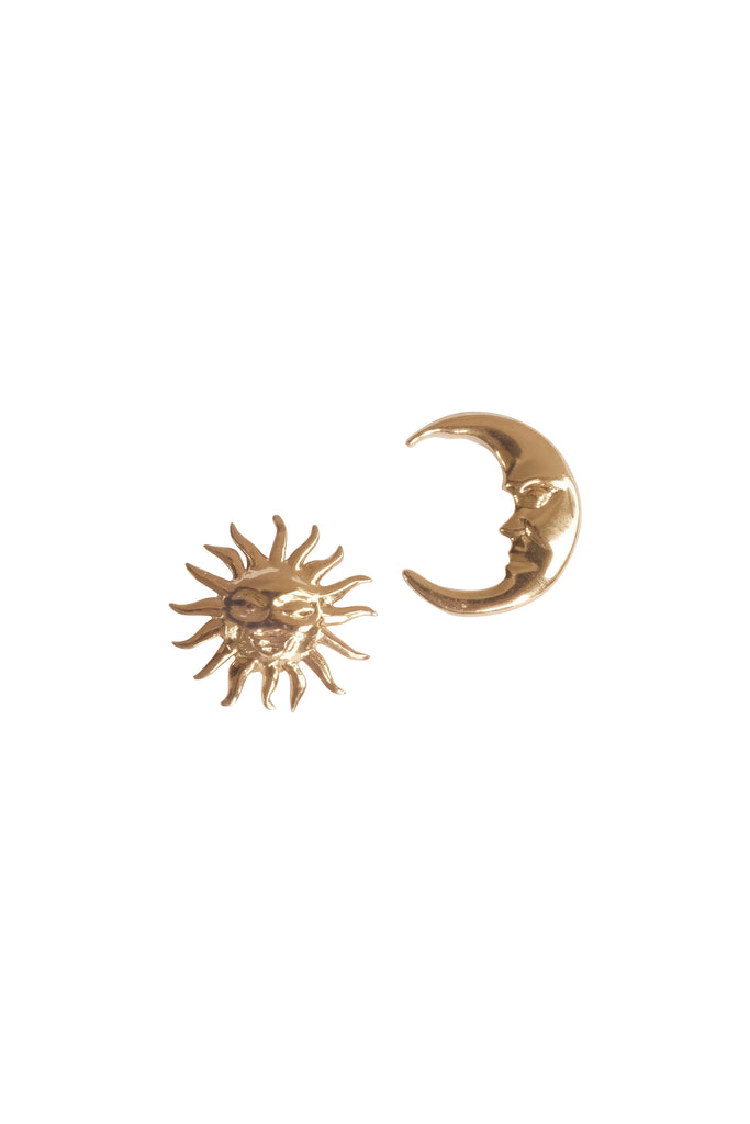 Cosmo Sun & Moon Studs - S-kin Studio Jewelry | Minimal Jewellery That Lasts.