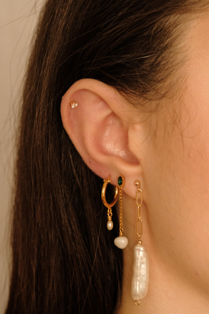 Riley Pearl Chain Earrings - S-kin Studio Jewelry | Minimal Jewellery That Lasts.