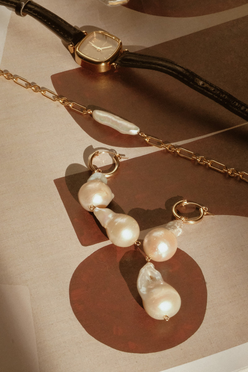 Aphrodite Baroque Pearl Earrings (Double Pearl) - S-kin Studio Jewelry | Minimal Jewellery That Lasts.