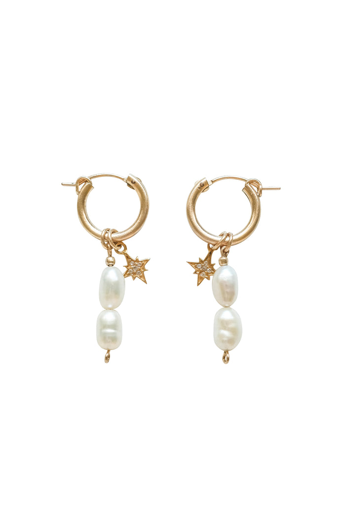 Hailey Double Pearl Starburst Hoops - S-kin Studio Jewelry | Minimal Jewellery That Lasts.