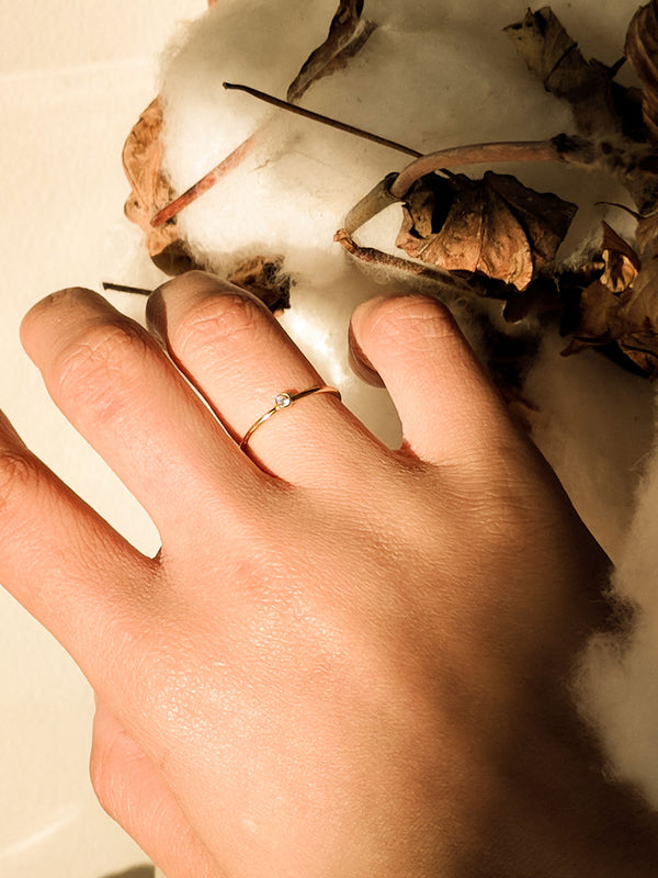 White Petite Gemstone Ring (14K Gold-Filled) - S-kin Studio Jewelry | Minimal Jewellery That Lasts.