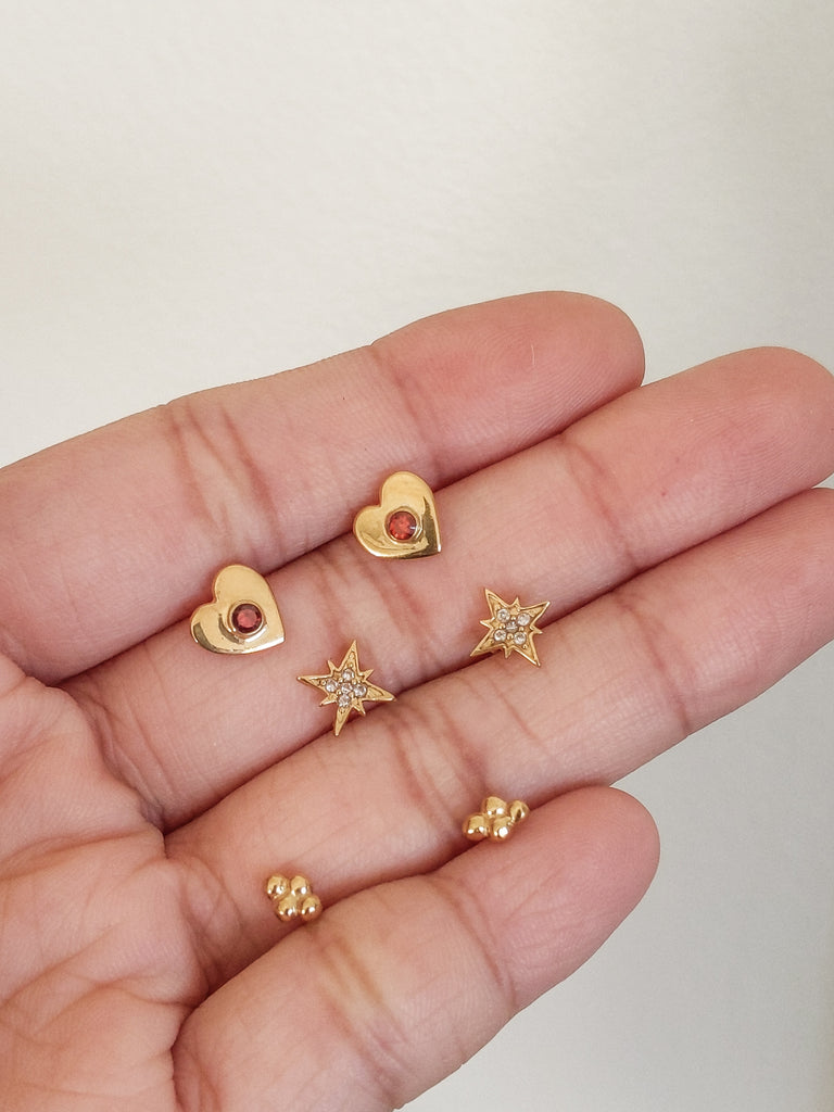 Waratah Capsule Earrings Pack (Gold-Filled) - S-kin Studio Jewelry | Minimal Jewellery That Lasts.