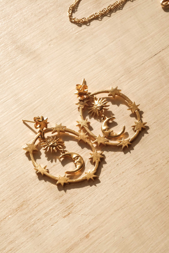 La Dominante Oval Sun & Moon Earrings - S-kin Studio Jewelry | Minimal Jewellery That Lasts.