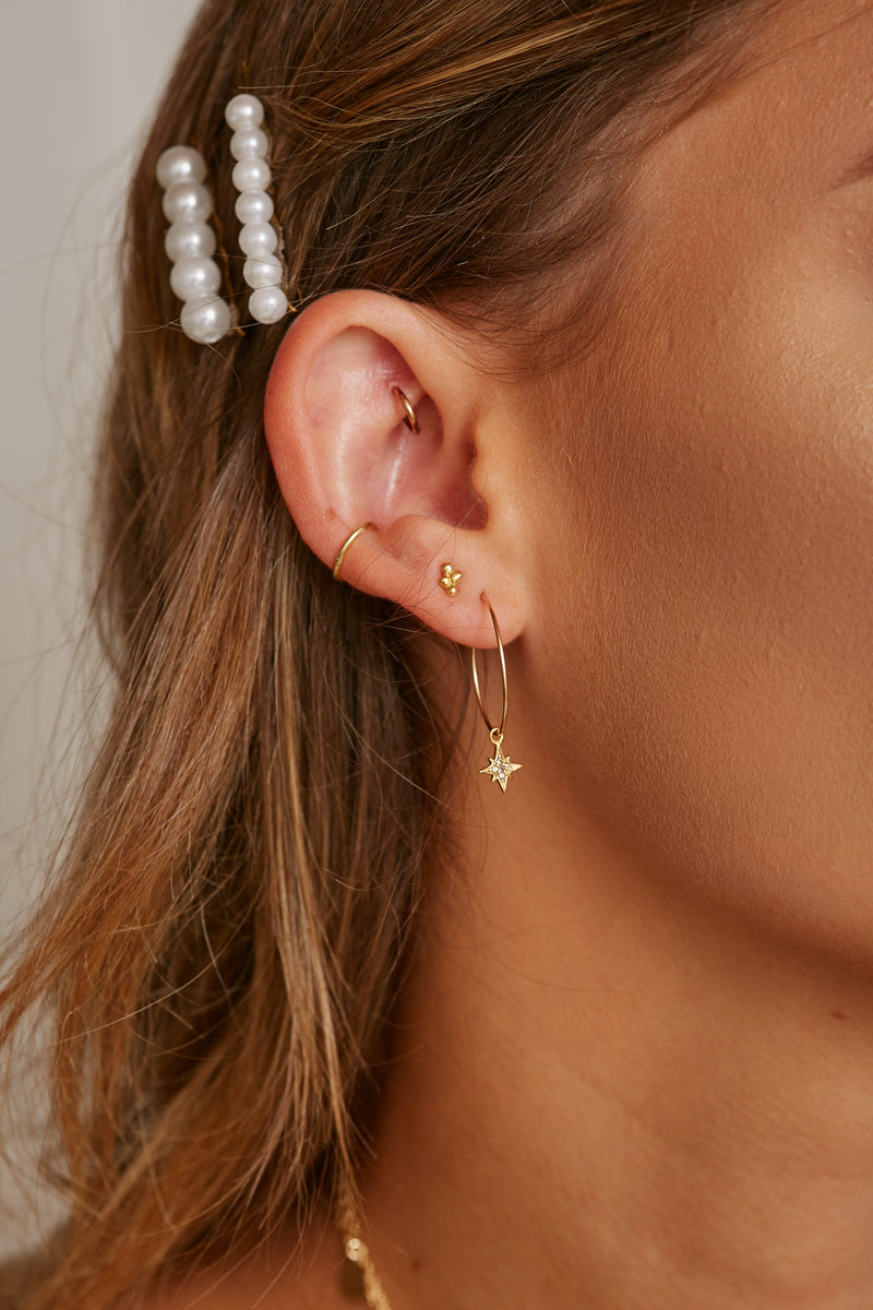 St'X Starburst Wire Hoops - S-kin Studio Jewelry | Minimal Jewellery That Lasts.