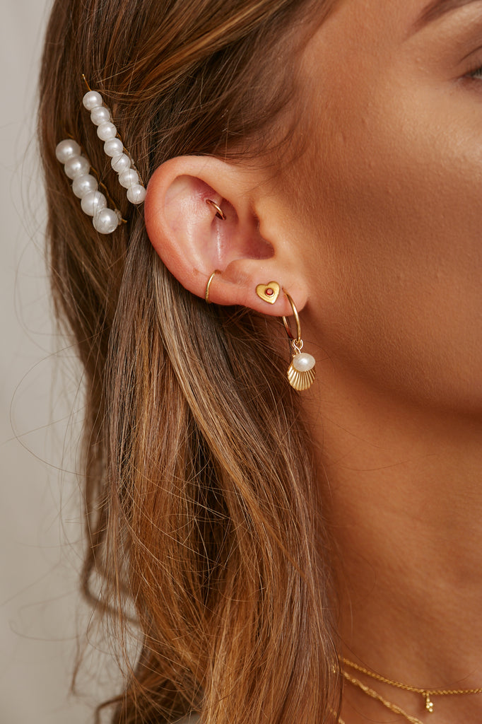 Meri Vintage Pearl Hoops - S-kin Studio Jewelry | Minimal Jewellery That Lasts.