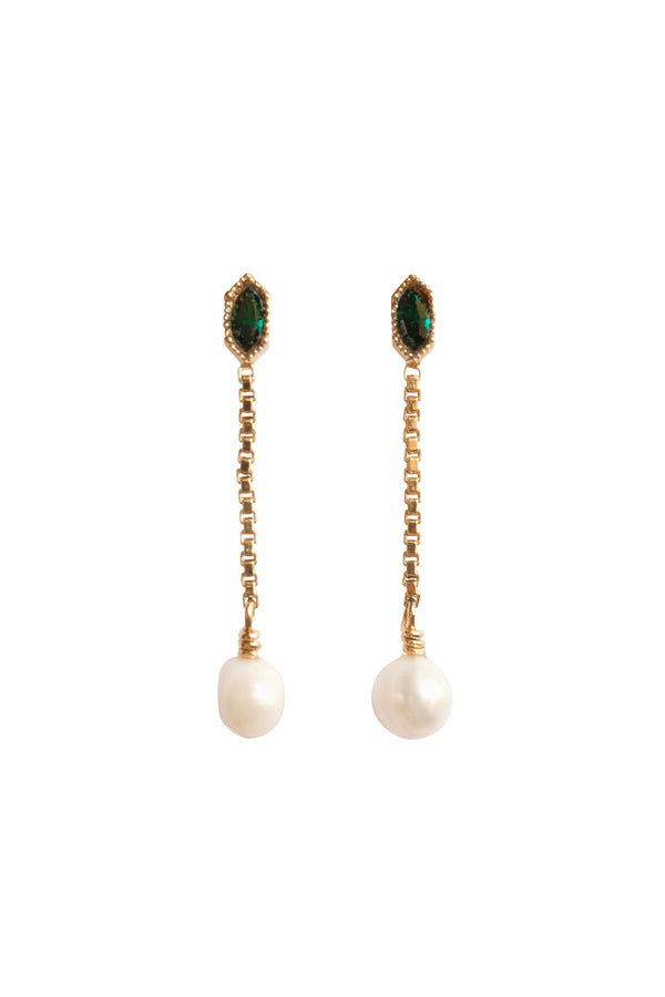 Emerald Pearl Dangle Earrings - S-kin Studio Jewelry | Minimal Jewellery That Lasts.